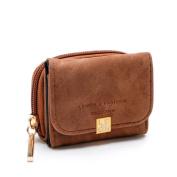 Kolylong Women's Fashion Zipper Hasp Short Mini Wallet Solid Colour Card Holder Billfold Purse Coin Purse