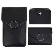 3 Pcs Trendy Cell Phone Bag Card Holder Purse, Meliya Students Fashion Chain Shoulder Bag PU Leather Cross-body Bag Round Buckle Decorated Card Bag Wallet