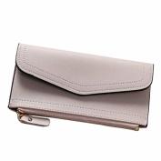 OURBAG Fashion Women Leather Bifold Wallet Clutch Card Holders Purse Lady Small Handbag Wallet for Women Beige