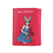 Kolylong Women Retro Miss Rabbit Printing Short Wallet Coin Purse Card Holders Handbag Birthday Gifts