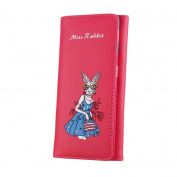 Kolylong Women Retro Miss Rabbit Printing Long Wallet Coin Purse Card Holders Handbag Birthday Gifts