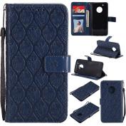 Moto G5 Plus Case, EST-EU Premium Vegan Leather Elegant Rattan Flower Floral Pattern Ultra Slim Flip Wallet Case with Stand and Wrist Strap for Motorola Moto G5 Plus, Dark Blue