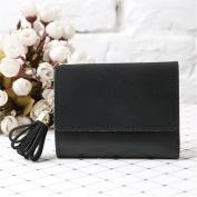 OURBAG Fashion Women Mini PU Leather Tassel Scrub Wallet Card Holder Clutch Coin Purse Handbag Purse Black