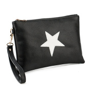 OURBAG Fashion Women's Leather Wallets Star Clutch Handbag Envelope Package Bag Evening Bags Coin Purse Card Holder Purse Wallet for Women Black