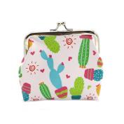 ZHOUBA Women Cute Cactus Snacks Bag Hasp Coin Purses Wallet Pouch Key Holder Accessory