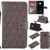 Galaxy Xcover 4 Case(G390f), EST-EU Premium Vegan Leather Elegant Rattan Flower Floral Pattern Ultra Slim Flip Wallet Case with Stand and Wrist Strap for Samsung Galaxy Xcover 4 / G390f, Grey