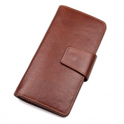 Credit Card Holder with Money Clip | RFID Blocking Wallet | Slim Wallet | Travel Wallet | Minimalist Mini Wallet for Men -red-brown