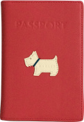 RADLEY 'Heritage Dog' Pink/Red Leather Passport Cover - RRP £42