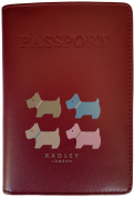 RADLEY 'Quad Dog' Dark Red Leather Passport Cover RRP £42.00