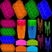 Neon Disposable Party Supplies Set, 32 Guest - 2 Size Plates, Tumbler Cups, Napkins, Cutlery | Glows Under Black Light or UV - Pink, Green, Blue, Orange | For Birthday, Clubs, 80s Festivals, and More