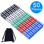 AUSTOR 50 Pieces Game Dice Set, 5 Colours Square Corner Dice with Free Storage Bag, Play Games like Tenzi, Farkle, Yahtzee, Bunco or Teaching Math