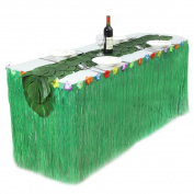 Table Skirt, outgeek Party Table Decoration Plastic Table Cloth Table Cover with 12Pcs Artificial Leaves