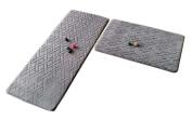 [Grey-2] 2 Pcs Absorbent Non-Slip Kitchen Rugs Kitchen Floor Mats