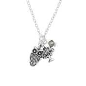 "Owl & Tree of Life Necklace - With One Crystal - 925 Sterling Silver - 45cm / 17.7"" - The Rose & Silver Company - RS0644"