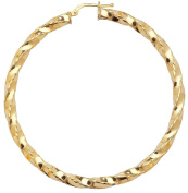 Pair of 9ct Yellow Gold 50mm Diameter Twisted Hoop Earrings Weight 4.0g Hallmarked