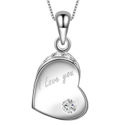 "Dawanza-Valentine Gifts 925 Sterling Silver Necklace for Women-Heart Pendant with Cubic Zirconia Engraving ""I Love You""-Fine Jewellery Chain Included"