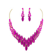 Jewellery Ant Hony Evening Ball Wedding Jewellery Set Necklace and earrings crystal pink fuchsia Tones