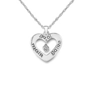 Sterling Silver Traditional Celtic Love Heart Gaelic 'Mair Gaire Gaol' English 'Live Love Laugh' Necklace Pendant - Includes a 46cm Sterling Silver Chain
