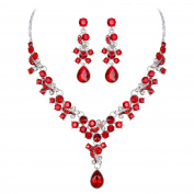 Bluelans Luxury Water-Drop Shape Rhinestone Necklace Earrings Women Charm Jewellery Set