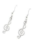 Purposefull- Silver Treble Cleft Earrings