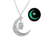 Bluelans Women Necklace Glow in The Dark Hollow Moon Owl Pendant Charm Chain Jewellery Gift