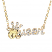 Bluelans Fashion Women Hollowed Alloy Queen Letter Rhinestone Crown Pendant Necklace