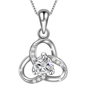 Dawanza-Valentine Gifts 925 Sterling Silver Necklace for Women-Flower Pendant with Cubic Zirconia-Fine Jewellery Chain Included