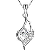 Dawanza-Valentine Gifts 925 Sterling Silver Necklace for Women-Eye Pendant with Cubic Zirconia-Fine Jewellery Chain Included