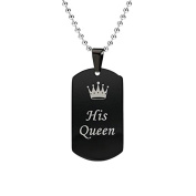 CMJ His Queen Dog Tag Pendant Necklace Love Valentines Womens Necklace UK Seller
