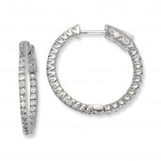 Sterling Silver Rhodium-plated In and Out CZ Hinged Hoop Earrings QE7942