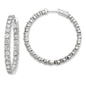 Sterling Silver Rhodium-plated CZ In and Out Hinged Hoop Earrings QE7976