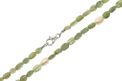 Green Apatite (925 silver)/Freshwater Pearls Necklace Ø 4 – 5 x 7 mm Length 45 cm lobster claw clasp