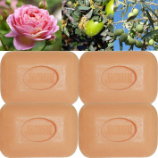 Lot of 4 soaps 100g perfumed jasmine flowers made from real soap Marseille by the soap factory Le Serail, one of the last 4 soap factories realising the real soap Marseille in France since 1949