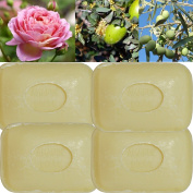 """Lot of 4 soaps 100g perfumed """"SWEET ALMOND"""" made from real soap Marseille by the soap factory Le Serail, one of the last 4 soap factories realising the real soap Marseille in France since 1949"""