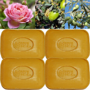 """Lot of 4 soaps 100g perfumed """"HONEY"""" made from real soap Marseille by the soap factory Le Serail, one of the last 4 soap factories realising the real soap Marseille in France since 1949"""