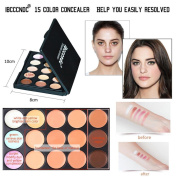 15 Colours Cream Concealer/Highlight/Face Contour Camouflage Palette Dull/Redness Skin/Black Circle Kit Set,Beauty Top Camouflage Kit Cream Concealer Palette Face Cream Concealer Palette