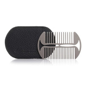 Beard Comb Stainless Steel, Black Leather Case - Erbe Solingen
