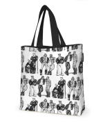 Finlayson Fellows Tote Bag with Lining, Cotton, Black/White, 45 x 42 cm