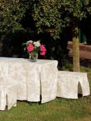 Brigitte von Boch - Toile de Jouy Beige/White Table & Bench Slip Cover 70cm