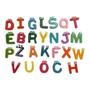 LMMVP Educational Toy 26 Letters Wooden Cartoon Fridge Magnet Sticker kid Baby Toy