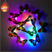 friendGG Beautiful 3D Butterfly Wall Decals, Colourful Changing Butterfly LED Night Light Lamp Home Room Party Desk Wall Stickers & Murals Decor for Babys Bedroom TV Background Living Room