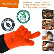 BBQ Grilling Gloves, Heat Resistant Kitchen Silicone Oven Mitts Extra Long