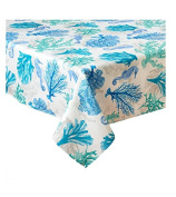 Seahorse Ocean Coral Print Indoor Outdoor Spillproof Wrinkle Resistant Tablecloth