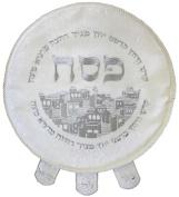 Ben and Jonah Matzah Cover Brocade Round With Heavy Plastic Houses Design-48cm D