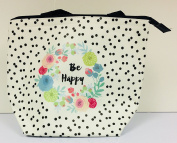 Insulated Floral Polka Dot Design Lunch Bag Tote - Be Happy