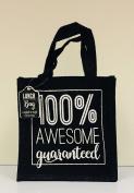 Black Hessian Tote Lunch Bag - 100% Awsomeness Guaranteed