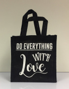 Black Hessian Tote Lunch Bag - Do Everything With Love