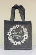Grey Hessian Tote Lunch Bag - Lunch Date