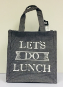 Grey Hessian Tote Lunch Bag - Let's Do Lunch