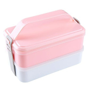 Haodasi Adults Kids Boys Student Bento Box Containers Double Stackable Fruit Box Sushi Box Freezer Dishwasher Microwave Safe Lunch Box with Handle
